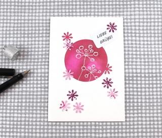 Grußkarte Blütenrot3 DinA6 mit Umschlag Unikat von ZWEIFARBIG Glückwunschkarte Geburtstagskarte Gutschein Liebe - Handarbeit kaufen