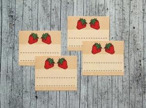 Einmachetiketten **Erdbeere1** von ZWEIFARBIG 14 Stück gummiertes Papier Aufkleber Sticker Erdbeermarmelade Dekoration Marmeladenetikett - Handarbeit kaufen