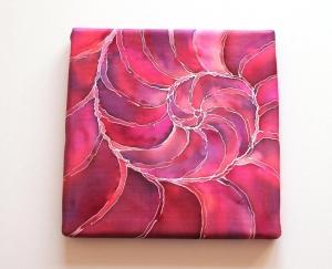 Keilrahmen SeidenBild 20x20 cm Nautilus2 Unikat von ZWEIFARBIG Homedeko Wohnaccessoire Kunst handgemacht - Handarbeit kaufen