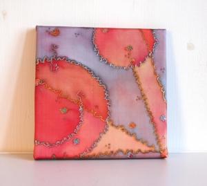 Keilrahmen SeidenBild 20x20 cm Supernova Einzelstück von ZWEIFARBIG Homedeko Wohnaccessorie Wandgestaltung - Handarbeit kaufen