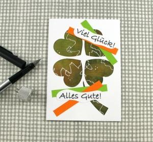 Glückwunschkarte Glücksklee2 DinA6 mit Umschlag Unikat von ZWEIFARBIG Gutschein Kleeblatt Grußkarte Geburtstagskarte - Handarbeit kaufen