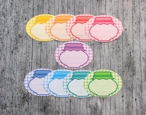 Einmachetiketten **Regenbogen1** von ZWEIFARBIG 18 Stück gummiertes Papier Etiketten Dekoration Aufkleber Sticker Marmeladenetiketten