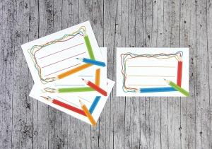 Aufkleber Stifte 8 Stück Schulheft Einschulung Adressaufkleber Heftaufkleber Schule - Handarbeit kaufen