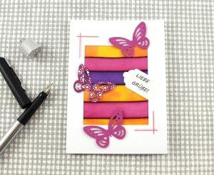 Grußkarte Butterfly3 DinA6 mit Umschlag Unikat von ZWEIFARBIG Glückwunschkarte Geburtstagskarte Schmetterling