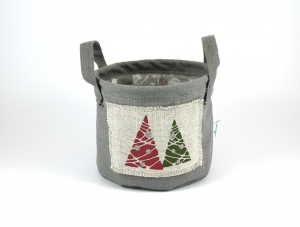 Dekotopf 2 Bäume Leinen Weihnachten Übertopf Weihnachtsdeko Dekoration - Handarbeit kaufen