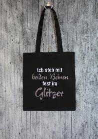 Stofftasche Glitzer2 von ZWEIFARBIG Einkaufsbeutel Baumwolltasche Stoffbeutel Geburtstag Geschenk Shopper Einkaufstasche