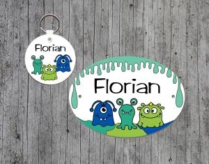 Namensschild mit Anhänger **MonstAAA9** von ZWEIFARBIG Namensset Geschenk Geburt Taufe Türschild Kindergarten Kinderzimmer Monster - Handarbeit kaufen