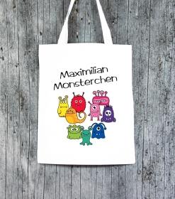 Stofftasche MonstAAA7 von ZWEIFARBIG Einkaufsbeutel Geburtstag Geschenk Kindergarten Schulanfang Turnbeutel - Handarbeit kaufen