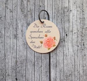 Blumenstecker Poesie9 Rose rosa Blumenschmuck Geburtstag Geschenk Valentinstag Hochzeit homedeko Dekoration
