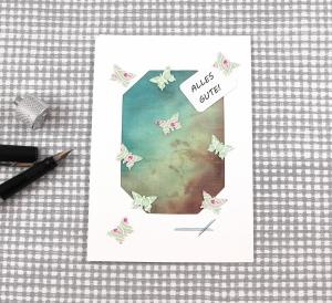 SeidenGruß Glückwunschkarte Smaragdwald3 DinA6 mit Umschlag Unikat