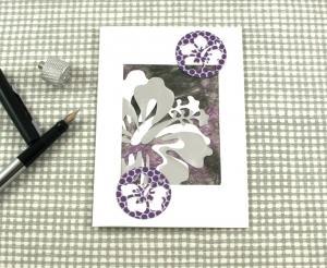 Glückwunschkarte Hibiskus1 DinA6 mit Umschlag Einzelstück von ZWEIFARBIG Geburtstagskarte Grußkarte - Handarbeit kaufen