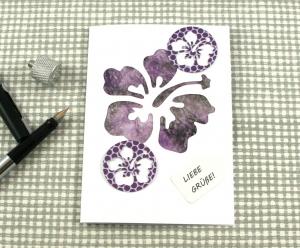 Glückwunschkarte Hibiskus2 DinA6 mit Umschlag Einzelstück von ZWEIFARBIG Kartengruß Klappkarte Grußkarte - Handarbeit kaufen