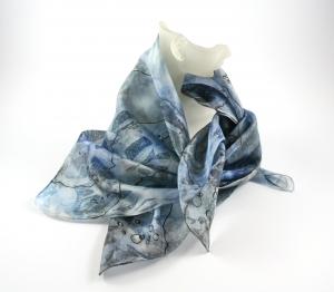 Seidentuch 55x55 cm AQUARIUS Einzelstück von ZWEIFARBIG handgefärbt Nickituch Accessoire Halstuch - Handarbeit kaufen