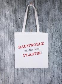 Stofftasche Plastik von ZWEIFARBIG Einkaufsbeutel Baumwolltasche Geburtstag Geschenk Shopper Einkaufstasche Stoffbeutel