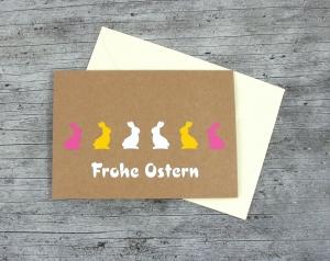Klappkarte **Hasen** von ZWEIFARBIG Kraftpapier Ostern Ostergrüße Kraftpapierkarte Osterwünsche Frohe Ostern Grußkarte Osterkarte  - Handarbeit kaufen