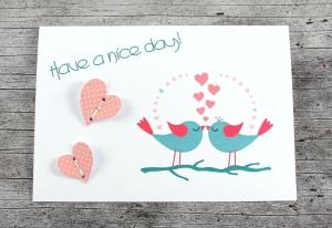 3D-Klappkarte **Vogelhochzeit3** von ZWEIFARBIG Grußkarte Hochzeit Glückwünsche Valentinstag Liebeskarte Hochzeitskarte 3D-Karte - Handarbeit kaufen