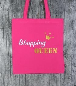 Stofftasche Queen von ZWEIFARBIG Gold Einkaufsbeutel Shopper Geburtstag Geschenk Einkaufstasche Mottoprint Baumwolltasche Stoffbeutel