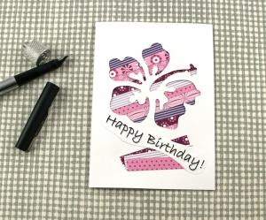 Klappkarte Stripes1 von ZWEIFARBIG Grußkarte Geburtstag Glückwünsche Gutscheinkarte Unikat Hibiskusblüte - Handarbeit kaufen