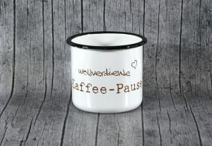 Tasse **Kaffee** von ZWEIFARBIG aus Emaille Kaffeetasse Küche Geschenk Emaillebecher Geburtstag Emailletasse Dekoration Küchenbedarf Becher Tasse - Handarbeit kaufen