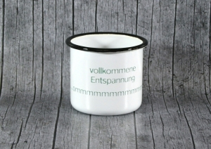Tasse ommm von ZWEIFARBIG aus Emaille Kaffeetasse Küche Geschenk Emaillebecher Geburtstag Dekoration Emailletasse Küchenbedarf Becher Tasse - Handarbeit kaufen