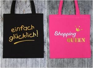 Stofftaschen Glück+Queen 2er Set von ZWEIFARBIG Gold Einkaufsbeutel Shopper Geburtstag Geschenk Einkaufstasche Mottoprint Baumwolltasche Stoffbeutel