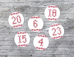 Adventskalenderzahlen **geSTICKt** von ZWEIFARBIG 24 Stück 40mm Aufkleber Adventskalender Zahlenaufkleber Advent Etiketten Adventszahlen Weihnachten - Handarbeit kaufen