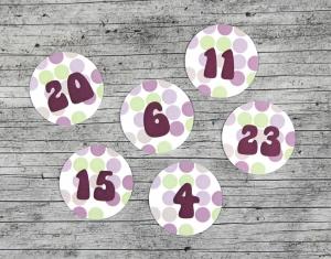 Adventskalenderzahlen **getÜpfelt** von ZWEIFARBIG 24 Stück 40mm Aufkleber Adventskalender Zahlenaufkleber Advent Etiketten Adventszahlen Weihnachten - Handarbeit kaufen
