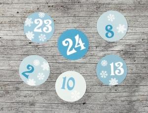 Adventskalenderzahlen **Schneeflocke** von ZWEIFARBIG 24 Stück 40mm Aufkleber Adventskalender Zahlenaufkleber Advent Etiketten Adventszahlen Weihnachten - Handarbeit kaufen