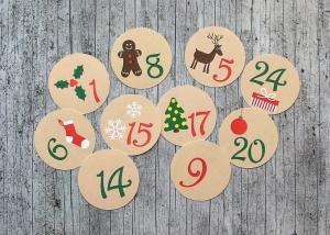 Adventskalenderzahlen **Advent** von ZWEIFARBIG 24 Stück 40mm Aufkleber Adventskalender Zahlenaufkleber Advent Etiketten Adventszahlen Weihnachten - Handarbeit kaufen