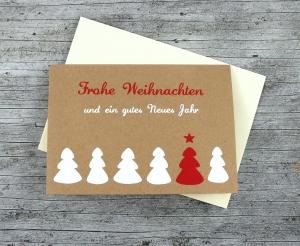Klappkarte **6Bäume** von ZWEIFARBIG Kraftpapier Weihnachtswünsche Frohe Weihnachten Grußkarte Weihnachtskarte Weihnachtsgrüße Kraftpapierkarte - Handarbeit kaufen