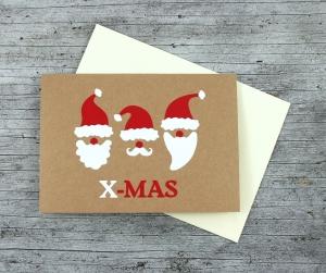 Klappkarte **3Wichtel** von ZWEIFARBIG Kraftpapier Weihnachtswünsche Frohe Weihnachten Grußkarte Weihnachtskarte Weihnachtsgrüße Kraftpapierkarte - Handarbeit kaufen