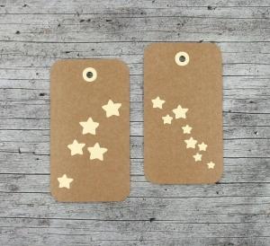 Geschenkanhänger **Sternenschauer** von ZWEIFARBIG 6er Set Kraftpapier Weihnachten Sterne Geburtstag Geschenkdeko Anhänger Dekoration Geschenk  - Handarbeit kaufen
