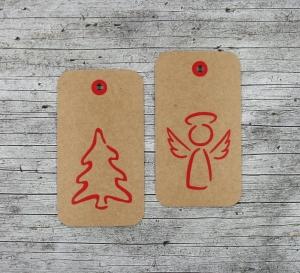 Geschenkanhänger **Baum+Engel** von ZWEIFARBIG 6er Set Kraftpapier Weihnachten Frohe Weihnachten Baum Anhänger Dekoration Weihnachtsdeko Engel - Handarbeit kaufen