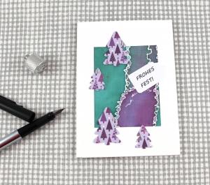 Weihnachtskarte XMas1 DinA6 mit Umschlag Einzelstück von ZWEIFARBIG Kartengruß Klappkarte Grußkarte XMAS - Handarbeit kaufen