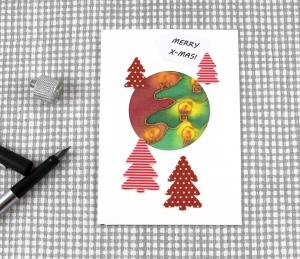 Weihnachtskarte Lichterglanz2 DinA6 mit Umschlag Einzelstück von ZWEIFARBIG Kartengruß Klappkarte Grußkarte XMAS - Handarbeit kaufen