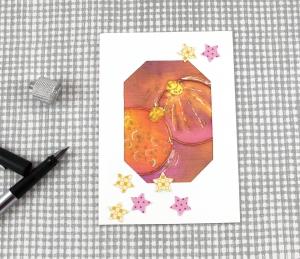 Weihnachtskarte Kugeln2 DinA6 mit Umschlag Einzelstück von ZWEIFARBIG Kartengruß Klappkarte Grußkarte XMAS