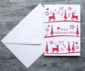Klappkarte **Hirsche rot** von ZWEIFARBIG Weihnachtswünsche Frohe Weihnachten Grußkarte Weihnachtskarte Weihnachtsgrüße Hirsch Stern Baum - Handarbeit kaufen