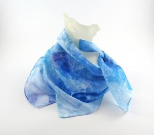 Seidentuch 55x55 cm Aqua Unikat von ZWEIFARBIG Nickituch Geschenk für Frauen Halstuch Accessoire handgefärbt - Handarbeit kaufen