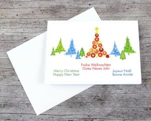 Klappkarte **Bunte Bäume** von ZWEIFARBIG Weihnachtswünsche Frohe Weihnachten Grußkarte Weihnachtskarte Weihnachtsgrüße Baum - Handarbeit kaufen