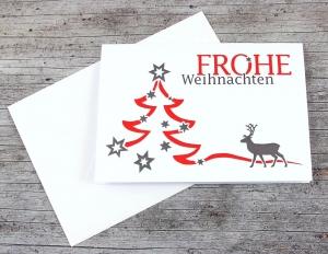 Klappkarte **Baum+Hirsch** von ZWEIFARBIG Weihnachtswünsche Frohe Weihnachten Grußkarte Hirsch Weihnachtskarte Weihnachtsgrüße Baum - Handarbeit kaufen