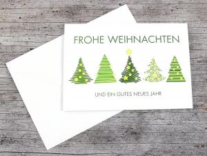 Klappkarte **Grüne Bäume** von ZWEIFARBIG Weihnachtswünsche Frohe Weihnachten Grußkarte Weihnachtskarte Weihnachtsgrüße Baum - Handarbeit kaufen