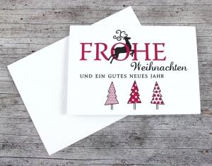 Klappkarte **3Bäume+Hirsch** von ZWEIFARBIG Weihnachtswünsche Frohe Weihnachten Grußkarte Weihnachtskarte Weihnachtsgrüße Baum Hirsch - Handarbeit kaufen