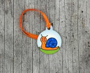 Anhänger **Schorschi Schneck** von ZWEIFARBIG 3,2cm Glücksbringer Kindergarten Geburtstag Einschulung Schlüsselanhänger Geschenk - Handarbeit kaufen