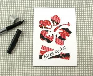 Klappkarte Stripes2 von ZWEIFARBIG Glückwunschkarte Einzelstück Grußkarte Glückwunsch Hibiskusblüte - Handarbeit kaufen