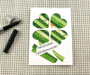 Klappkarte Stripes3 von ZWEIFARBIG Grußkarte Geburtstagsgruß Glückwunsch Kartengruß Kleeblatt - Handarbeit kaufen
