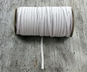 Flachgummi **5mm** grauweiß textilumflochten Gummizugschnur DIY Mundmaske - Handarbeit kaufen