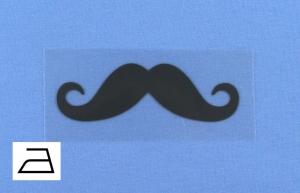 Bügelbild **BB6** von ZWEIFARBIG Applikation zum Aufbügeln auf Kleidung und Accessoires Schnurrbart Bügelmotiv Plott Aufbügler Mottoprint Geschenk Kindergarten Schule Behelfsmaske  - Handarbeit kaufen