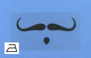 Bügelbild **BB7** von ZWEIFARBIG Applikation zum Aufbügeln auf Kleidung und Accessoires Schnurrbart Bügelmotiv Plott Aufbügler Mottoprint Geschenk Kindergarten Schule Behelfsmaske  - Handarbeit kaufen