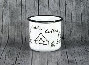 Tasse **Outdoor** von ZWEIFARBIG aus Emaille Kaffeetasse Küche Geschenk Emaillebecher Geburtstag Dekoration Emailletasse Camping Küchenbedarf Becher Tasse - Handarbeit kaufen