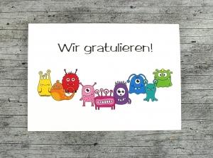 Klappkarte **MonstAAA8** von ZWEIFARBIG Grußkarte Geburtstag Glückwünsche Geburtstagswünsche Gratulation Geburtstagskarte Kindergeburtstag - Handarbeit kaufen